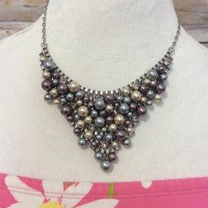 Anne Taylor loft silver gold bauble necklace